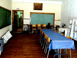 Original blackboards are in every room.
