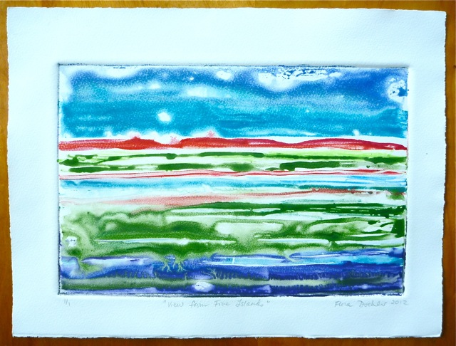 """""""View from 5 Islands"""". Monoprint by Flora Doehler, 2012."""