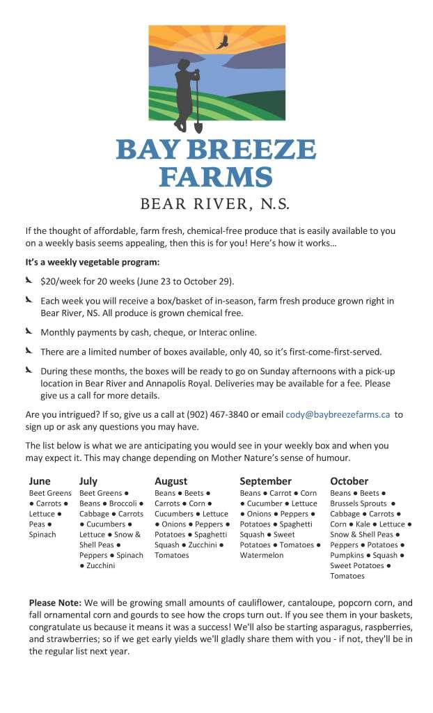 Bay Breeze Farms - Weekly Vegetable Program - 2016