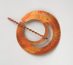 copper flame penannular brooch